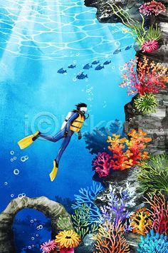 Scuba diving on an alien world? I'll pass. Sea Murals, Ocean Drawing, Underwater Painting, Ocean Pictures, Sea Art, Ocean Creatures, Ocean Themes, Fish Art, Under The Sea