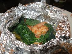 Moroccan Shrimp with Spinach (You cook it in a sealed up foil packet ...