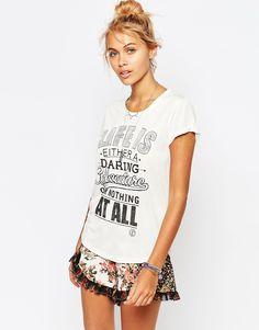Element T-Shirt With Life Slogan Print