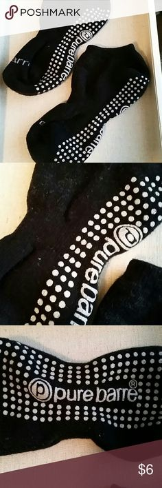"""Pure Barre Socks Gently used Pure Barre """"sticky"""" socks in black! Great for barre classes, yoga, pilates, etc. Not quite sure on the size -- I typically wear a size 8 and these fit perfectly, so guessing they would work for a size up or down from that too.  Nonsmoking home. Pure Barre Accessories Hosiery & Socks"""