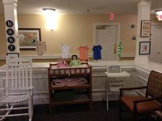 Our baby station at work for our residents with dementia. www.dementia-by-day.com