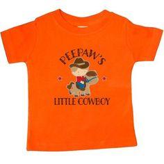 Inktastic Peepaw Grandpa's Little Cowboy Baby T-Shirt Peepaws Grandson Boys Childs Kids Cute Gift Pee Paw Grandpa Grandfather Grandparents T-shirt Infant Tees Shower Clothing Apparel Hws, Infant Boy's, Size: 12 Months, Orange