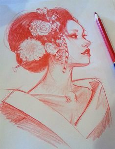 """Quickie afternoon pencil dook"" - Mel Milton, color pencil, 2015 {contemporary figurative character illustration beautiful female head woman portrait pencil sketch #dookiin #Melmade} melmade.blogspot.com"