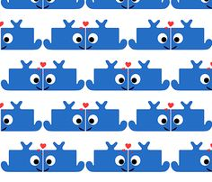 Whales in love fabric by minneaa on Spoonflower - custom fabric Whales, Custom Fabric, Spoonflower, Gift Wrapping, Kids Rugs, Wallpaper, Prints, Pattern, Color
