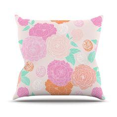 "Anneline Sophia ""Peonies Pink"" Peach Teal Outdoor Throw Pillow"