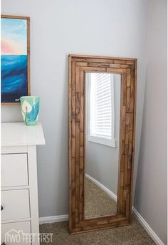 Leaning Floor Mirror DIY | Floor mirror, Wood stain and Upcycle