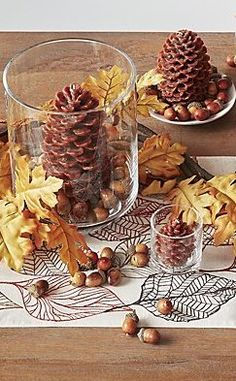 Scatter these lifelike pinecone candles on the table or mantel for a woodsy, wintery look. Thanksgiving Diy, Thanksgiving Table Settings, Fall Table Settings, Decorating For Thanksgiving, Autumn Decorating, Fall Home Decor, Autumn Home, Diy Autumn, Autumn Table