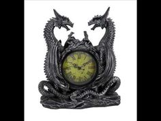 This Gothic Twin Dragons Table Clock is made of high quality polyresin. Clock is equipped with a battery panel and felt pad bottom. This stunning dragon sculpture is a dramatic decoration and clock all in one! Home Decor Accessories, Decorative Accessories, Baroque, Desk Clock, Clock Table, Antique Mantel Clocks, Dragon Table, Medieval Dragon, Medieval Fantasy