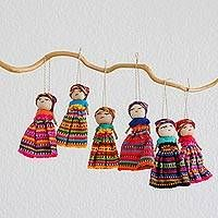 Set of 6 Guatemalan Worry Doll Ornaments Crafted by Hand - Worry Dolls Share the Love Handmade Jewelry Designs, Handmade Home Decor, Clay Crafts, Arts And Crafts, Mobiles, Worry Dolls, Ornament Crafts, Online Gifts, Handicraft