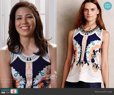 Angela's bordered print top on Bones.  Outfit Details: https://wornontv.net/57771/ #Bones  Buy it here: http://wornon.tv/36186