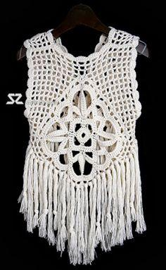 crochelinhasagulhas: Colete branco de crochê