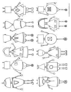 Robots colouring-in printable