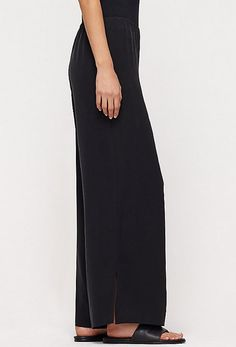 EILEEN FISHER BLACK CHIFFON WIDE LEG Eileen Fisher, Wide Leg, Designers, Chiffon, Legs, Black, Silk Fabric, Black People