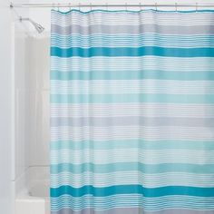 Amazon.com: InterDesign Hampton Stripe Shower Curtain, 72-Inch by 72-Inch, Teal/Gray: Bedding & Bath