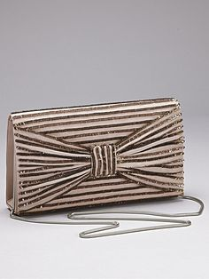 french connection samara bow sequin clutch