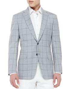 Windowpane Wool/Silk Jacket, Light Gray by Brioni at Neiman Marcus.