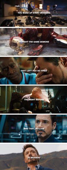 Bravery, by Tony Stark Marvel Quotes, Marvel Memes, Marvel Dc Comics, Marvel Avengers, X Men, Man 2, Iron Man Tony Stark, Loki, Thor