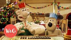 Wallace and Gromit hangout on Google with, Ginger from Chicken Run, Shaun the Sheep and his flock, the Cat and Dog from Creature Comforts, Fluffles and Piell...