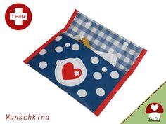 Blaue Erste Hilfe Tasche aus Wachstuch  von Wunschkind auf DaWanda.com