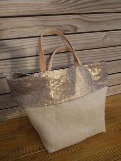 Tote bag cabas lin et sequins - réversible coton imprimé toile de Jouy - Modèle unique : Sacs à main par je-veux-un-cabas