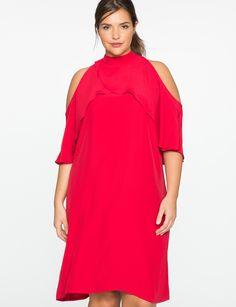 Cold Shoulder Mock Neck Dress   Women's Plus Size Dresses   ELOQUII