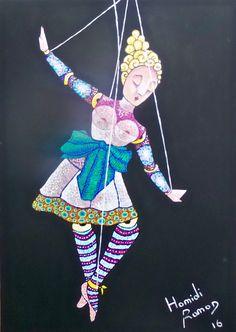Marionetta ballerina - Original oil painting plus one free print, Express shipping worldwide, By Ramon Hamidi art di Metacubismo su Etsy