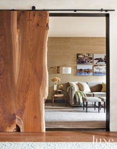 Wooden Slab Entrance to Library- wow barn door