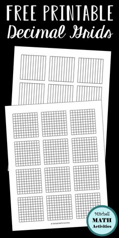 FREE printable decimal grid models for tenths and hundredths.  Plus a free hands-on activity and tips for teaching decimal concepts. Several pages with different size options.  Appropriate for 4th and 5th grade decimal instruction.  #mitchellmathactivities #decimals #freeresource #fourthgrade #fifthgrade