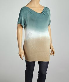 Take a look at this Emerald & Beige Ombré Drape Neck Top - Plus by Urban X on #zulily today!