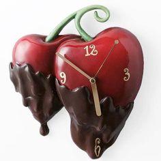 45 Stunning Kitchen Clock Design Ideas With Fresh Fruit Theme Traditional Clocks, Novelty Clocks, Tick Tock Clock, Unusual Clocks, Cherry Baby, Cherries Jubilee, Kitchen Wall Clocks, Chocolate Covered Cherries, Wall Clock Design