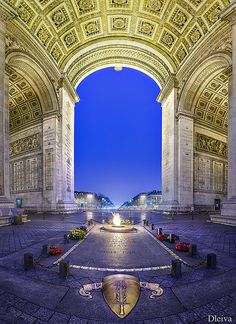 Arch of Triumph, Tomb of the unknown soldier, Paris, France.