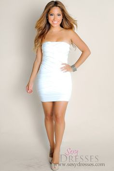 f7f861265f All White Dream On Sleeveless Strapless Bandage Tube Top Club Dress
