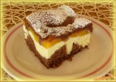 MOUČNÍKY, POHÁRY - Řezy s broskvemi a tvarohem Slovak Recipes, Czech Recipes, Russian Recipes, Mexican Food Recipes, Sweet Recipes, Healthy Diet Recipes, Cooking Recipes, Chocolate Deserts, Sweet And Salty