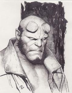Adi Granov - Hellboy sketch Comic Art