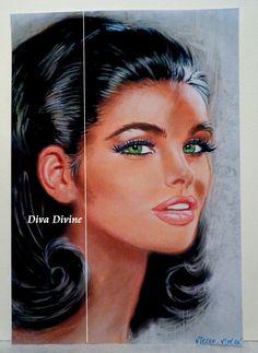 Décoration Vintage Portrait   NICOLE  Pastel par DivaDivinePastel