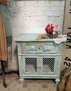 Casa pintada Vintage Shabby Aqua Chic velador por paintedcottages