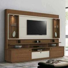 Amazing 30 TV Stand Design Ideas - Engineering Discoveries Tv Unit Design, Tv Wall Design, House Design, Outdoor Furniture Plans, Woodworking Furniture Plans, Tv Unit Furniture, Wood Furniture, Furniture Ideas, Home Theater