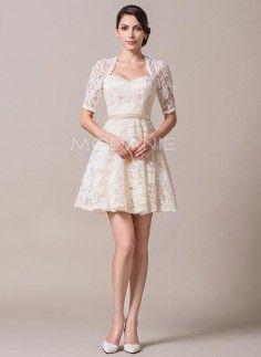 Col en coeur robe de mariée civile avec boléro manches mi-longue