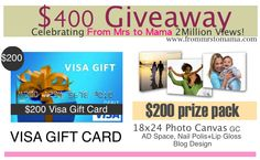 From Mrs. to Mama: $200 Visa Gift Card + More Giveaway Celebrating 2 million Page Views