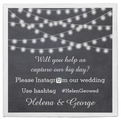 String of lights on chalkboard with Instagram hashtag wedding paper napkin. #papernapkin, #wedding, #chalkboard, #hashtag, #Instagramhashtag, #Instagramourwedding