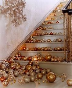 Beautiful staircase, gold and silver balls. And who really needs to use the stairs during the holidays anyway?