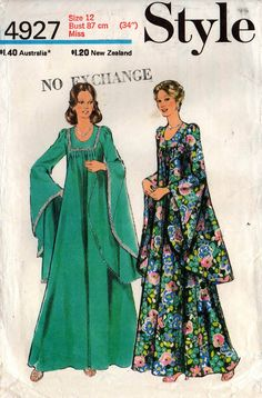Style 4927 Womens Boho Goth Maxi Lined Caftan Dress with Godet Sleeves 70s Vintage Sewing Pattern Size 12 Bust 34 inches