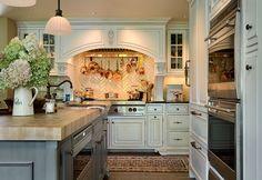 Kitchen, herringbone subway tile, butcher block island...