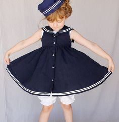Full gathered little Girls Sailor Dress by Little by MovieStarMoon, $35.00