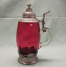 Vintage Cranberry Glass Stein  $165.00  #cranberryglass #Germanstein