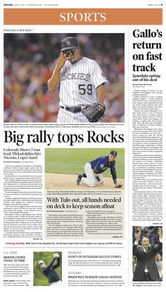Saturday, June 15, 2013 Denver Post sports cover.