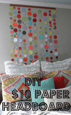 Paper Headboard @ DaisyMaeBelle  use this idea in my quilt hangers for swapping out seasonal decor and cleaning the quilt or hanging rug!