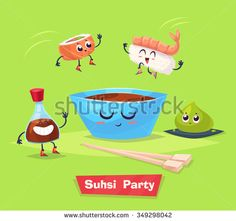 Sushi party. Two sushi jump into cup with soy sauce. wasabi and soy bottle stay beside them. Japanese food. Vector cartoon illustration. Cute stylish characters.