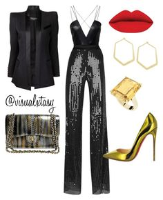 SlayInTheCityTre by visualxtasy on Polyvore featuring polyvore fashion style Balmain Thierry Mugler AQ/AQ Chanel Ileana Makri StyleRocks Christian Louboutin clothing