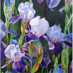 Shop Iris Flower Garden Watercolor Vinyl Sticker created by Rachel_Armington_Art. Iris Painting, Garden Painting, Watercolor Flowers, Watercolor Art, Iris Garden, Flower Gardening, Iris Flowers, Summer Flowers, Purple Iris